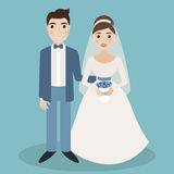 Bride and groom characters isolated on blue background Stock Photo
