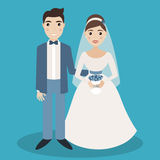 Bride and groom characters isolated on blue background Royalty Free Stock Photography