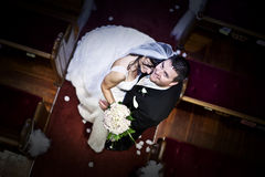 Bride and groom in a church Royalty Free Stock Images