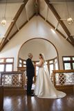Bride and groom in church. royalty free stock image
