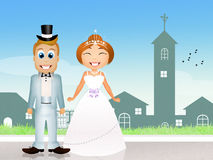 Bride and groom on church Royalty Free Stock Photo