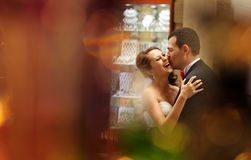 Bride and groom in the city Stock Photo