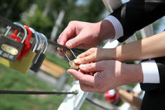 Bride and groom cling wedding padlock Stock Image