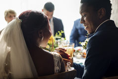 Bride and Groom Clinking Glasses Wedding Reception royalty free stock images