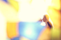 Bride and groom in colorful atmosphere Stock Photography