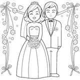 Bride and groom coloring book page. A bride and a groom. Black and white coloring page illustration Royalty Free Stock Photos