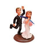 Bride and groom comic figures Royalty Free Stock Photo