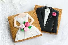 Bride and groom cookies. Bride and groom wedding favors Stock Photography