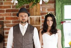 Bride and groom country style wedding Stock Photography