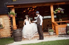 Bride and groom country style wedding Royalty Free Stock Photography
