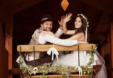 Bride and groom country style wedding Stock Photo