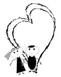 Bride and groom. Couple in their wedding with hearts stock illustration