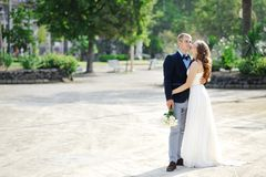 Bride and groom couple in wedding day in Naples Stock Photo