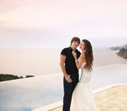Bride and groom, couple wedding portrait, young romantic lovers Royalty Free Stock Photo