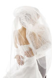 Bride and Groom Covered Veil, Wedding Couple Kissing, Back Rear. View over White Background Royalty Free Stock Image