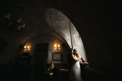 The bride and groom in a cozy house, photo taken with natural li Royalty Free Stock Photo