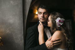 The bride and groom in a cozy house Royalty Free Stock Photography