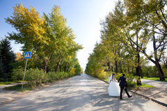 Bride and groom crossing the road. Happy bride and groom crossing the road Stock Photography
