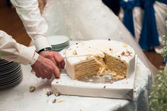 Bride and groom cut the cake. Bride and groom cut the blue cake Stock Photo