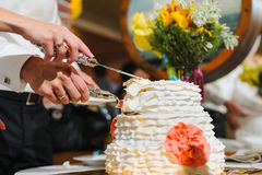 Bride and groom cut the cake. Cake looks like a wedding dress royalty free stock images