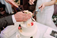 The bride and groom cut together the cake into pieces stock photo