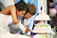 Bride and groom cut the wedding cake. Happy bride and groom cut the wedding cake Stock Photo