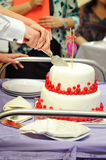 Bride and groom cut the wedding cake Royalty Free Stock Image