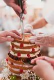 Bride and groom cut wedding cake Stock Photo