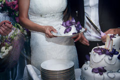 Bride and groom cut a wedding cake Stock Images