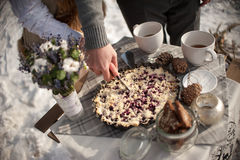 The bride and groom cut the wedding cake in tin metal plate outdoors in the winter on the coast of the frozen river Royalty Free Stock Photo