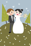 Bride and Groom. Cute illustration of bride and groom, great for wedding illustrated cards Stock Photography