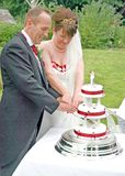 Bride and Groom cutting the Cake Royalty Free Stock Photos