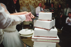 Bride and groom is cutting cake Stock Photos