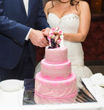 Bride and a groom is cutting their wedding cake Stock Photography