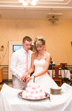 Bride and a groom is cutting their wedding cake Stock Image