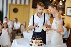 Bride and groom cutting their wedding cake Royalty Free Stock Photography