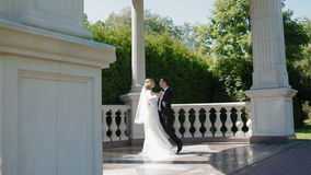 Bride and groom dance outdoor in sunny day stock video