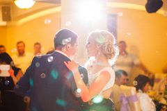 Bride and groom dance royalty free stock photo