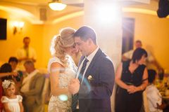Bride and groom dance stock photo