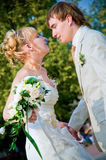 Bride and groom dancing Stock Image