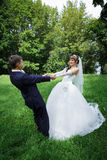 Bride and groom are dancing Stock Photo