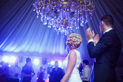 Bride and groom dancing Stock Photo