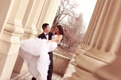 Bride and groom dancing Royalty Free Stock Photos
