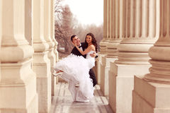 Bride and groom dancing Royalty Free Stock Images