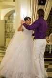 Bride and groom dancing the first dance at their Royalty Free Stock Image