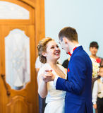 Bride and groom dancing the first dance at the wedding ceremony Stock Image