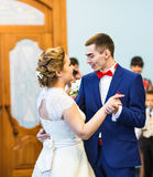 Bride and groom dancing the first dance at the wedding ceremony Stock Photo