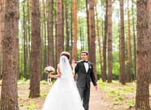Bride and groom dancing  in nature. Wedding dance outdoors Stock Photography