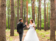 Bride and groom dancing  in nature. Wedding dance outdoors Royalty Free Stock Image