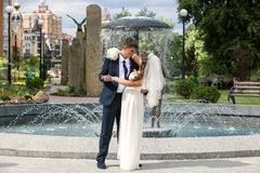 Bride and groom dancing near fountain at park Stock Photos